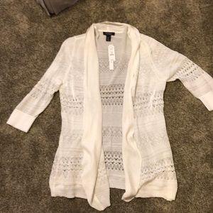 White cardigan, White House Black Market, XL, NWT